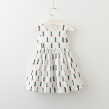2017 New Arrival Girls cactus Printed Dress Summer Good Quality Girls Dresses 2-8 years