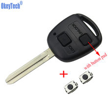 OkeyTech 2 Button Car Remote Key Case Shell For Toyota Yaris Avalon Camry RAV4 Corolla Echo with Key Pad 2pcs Switches Fob Cover(China)