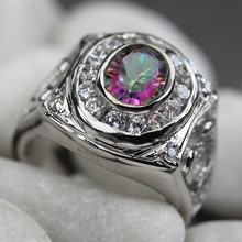 Rave reviews Bezel Setting Rhodium Plated Ring White and Rainbow Cubic Zirconia R778 Size #6 7 8 9 Promotion Favourite Shinning
