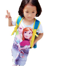 new fashion print cartoon girls jean dress factory price summer baby kids clothes beach dress small girl dress children clothing(China)