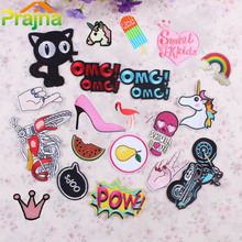 1PCS Motorcycle Unicorn Letter Patch Cat Kids Iron On Cartoon Patches Cheap Embroidered Cute Patches For Clothes Jeans Applique