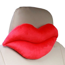 Car Seat Neck Rest Belt Headrest Pads Red Big lips shape Nap Headrest Cute Automotive occipital(China)