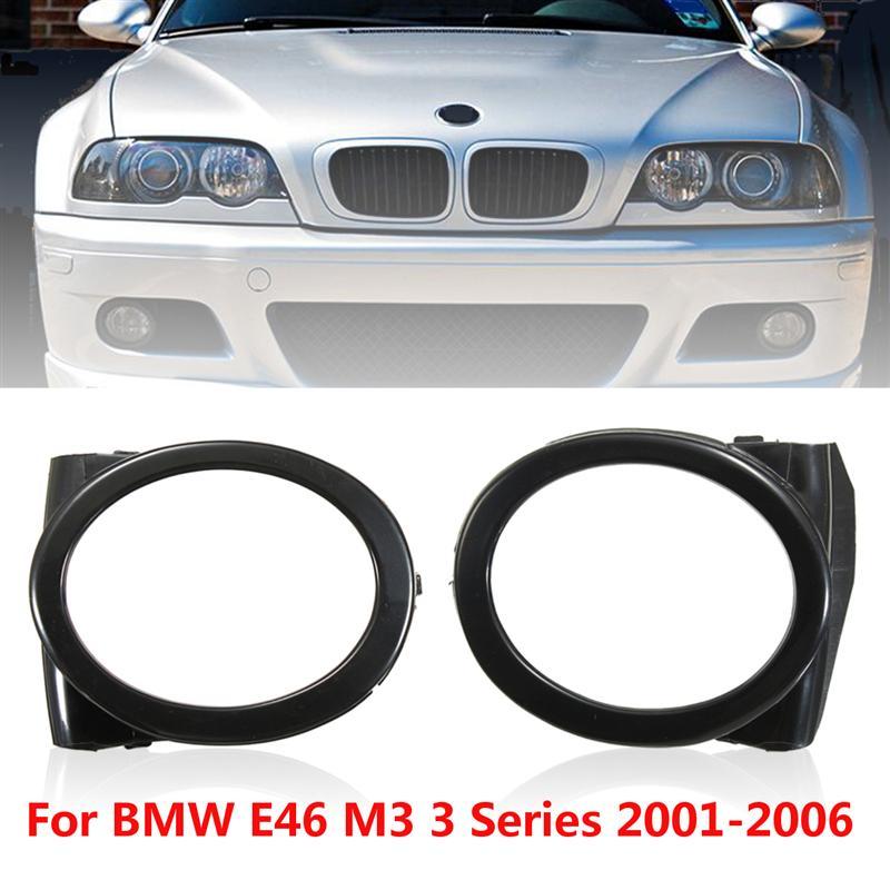 Fit for BMW E46 M3 01-06 Fog Light Trim Ring Cover Black 2001-2006