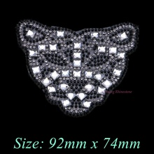 1PC Leopard Head Iron On Hotfix Rhinestones Patches Motif Women Crystal Glass Hot fix Bride Wedding Dress Clothes Animal
