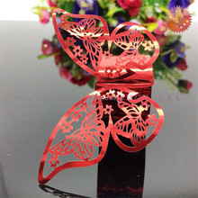 100pcs laser cut Butterfly Napkin Rings Serviette Holder Table Decoration Wedding Banquet Dinner Decor Towel Buckle 7ZSH098
