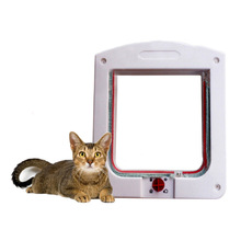 Convenient Lockable Dog Cat Glass Door Flap 4 Way Pet Products Supplies Dogs Cats Doors Through Yard White Brown Color