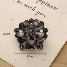 20pcs 28mm Flower shape glass crystal rhinestone button sewing on for fur coat bag costume shoes sewing accessory