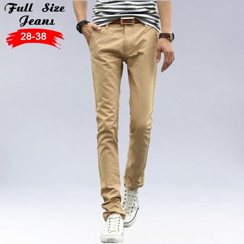 Summer Khaki Extra Long Stretch Jeans Men Straight Long Casual Pants For Tall Men Pencil PantsÎäåæäà è àêñåññóàðû<br><br>
