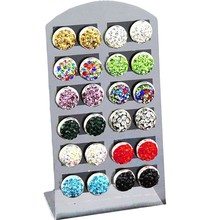 12 Pair /1 lot Fashion Jewelry Stud Earrings 10mm Shamballa Earring Female Micro Ball Crystal Silver-Color Earrings For Women