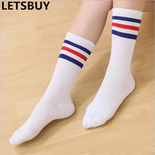 LETSBUY womens crew cotton football socks knee high striped colored summer soccer sports sokken running funny skateboard sox