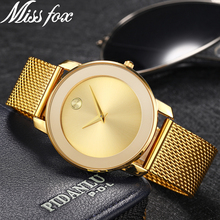 Miss Fox Ladies Gold Watch Women Famous Brand Minimalist Steel Mesh Simple Geneva Watch Women Waterproof Xfcs Role Quartz Watch(China)