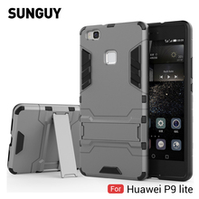 For Huawei P9 Lite Case, SUNGUY Armor Shockproof TPU Silicone Bumper PC Back Cover Case for Huawei P9 Lite 5.2'' 2017 Phone Case(China)
