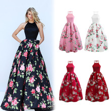 Buy Sexy Women Summer Maxi Dress Halter Backless Sleeveless Long Floral Print Party Club Dresses H9