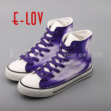 E-LOV High End Hand Painted Canvas Shoes Dream Graffiti Casual Flats Unisex Women Shoes Purple zapatillas mujer(China)