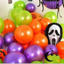 Best Quality 10 Inch 2.3g 30pcs/lot Halloween balloons Latex Purple Orange Green Baloon Party Decorative Pet Balloon Toys