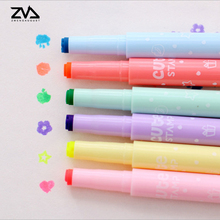 6 Pcs / Pack 6 colors Cute Candy color creative Kawaii Highlighter Pen School Supplies Stationery DIY marker pens(China)