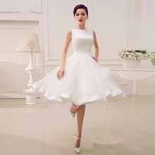 Elgant A Line Knee Length Wedding Dress 2017 Summer Organza Backless Satin Wedding Bridal Gowns With Bow Robe De Mariage Cheap