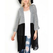 Fashion Women Long Cardigan Patchwork Mesh Sweater Autumn Lady Chic Knitted Cardigans Tops Open Stitch XXXL
