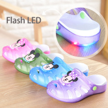 Mini Melissa LED Mickey Minnie Breathable Sandals 2017 Children Slippers Summer Cute Cartoon Children Baby Jelly Hole Shoes(China)