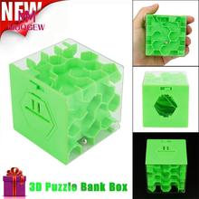 3D Cube Puzzle Money Maze Bank Saving Coin Collection Case Box Fun Brain Game Educational toys for kids drop ship #M(China)