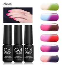Zation 7ml Gel Nail Polish Temperature Changing Color Hybrid Gel Polish Soak off UV LED 29 Colors Lucky Gel Varnish Art(China)