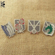 Anime Series Attack On Titan large brooches fashion brooches Pin badge Exquisite jewelry Down Collar Tips Brooch lapel pin men(China)