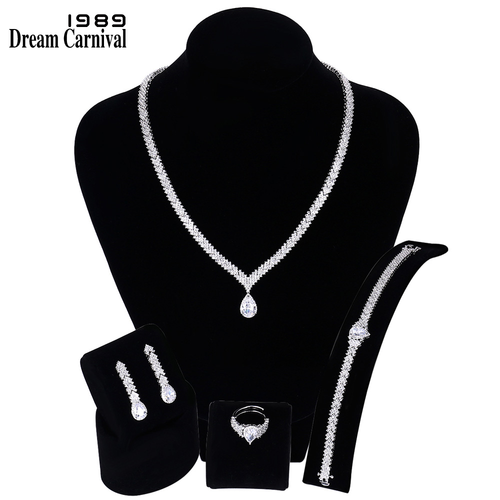 DreamCarnival1989 New Arrival Women Wedding Jewelry Set 4 pcs Deluxe Cubic Zirconia Wholesale Dubai Saudi Hot Selling SN07435-1B