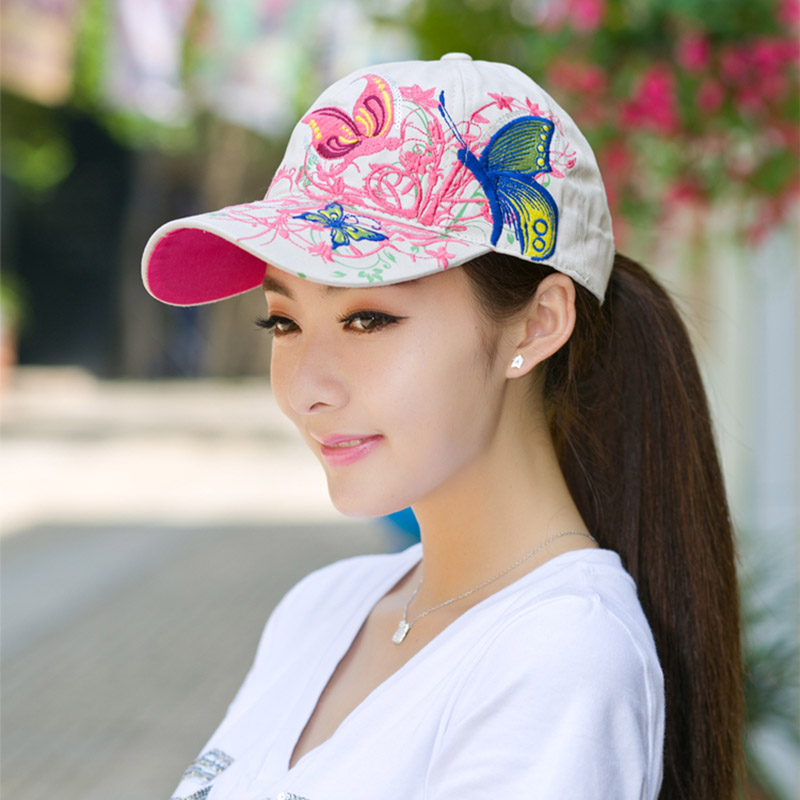 2016 Women Fashion Baseball Caps with Sequin Summer Butterfly Sun Hats Adjustable Spring Lovely Cotton Outdoor Hat for Female<br><br>Aliexpress
