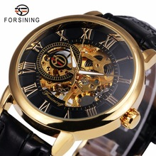 2017 FORSINING 3D Logo Black Gold Men Mechanical Watch Montre Homme Men Watches Top Brand Luxury Leather Skeleton Royal Design(China)