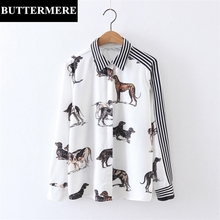 BUTTERMERE Womens Blouse Tops Casual Fashion Animal Printed Shirt White Striped Dog Spring Autumn Patchwork Clothing Blusas(China)