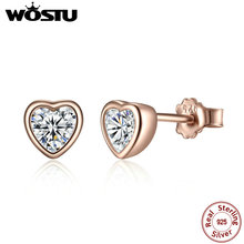 Real 100% Real 925 Sterling Silver & Gold Color One Love Heart Stud Earrings For Women Female Authentic Original Jewelry XCHS452(China)