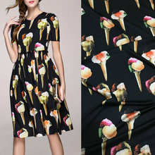 polyester silk satin fabric,black ice cream print silk stretch satin fabric tissue,women evening dress imitate silk fabric(China)