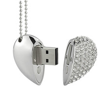 Free Shipping Wedding Gift USB Flash Drive With Rhinestones Crystal Pen Drive Pendant Jewelry USB Stick High capacity 8gb
