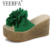 YIERFA Design Beautiful Looking Three Colors Wedges Women Flip Flops Summer Time Casual Wear Female Shoes New Arrival Hot Sale