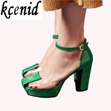 2017 Newest mary janes pumps rome style green with transparent strappy buckle sandals high heels platform shoes woman size 34-39