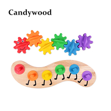Montessori Toys Cute Gear Caterpillar Puzzle Kids Educational Wooden Toys Baby Children Training Science Worm Toys brinquedo