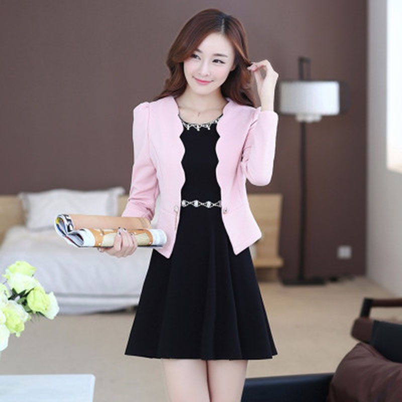 Autumn Spring Women Dresses Suits Fashion Office Women Workwear Blazer Dress Suit Female 2 pieces sets suits