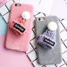 LACK Luxury Warm Fuzzy Case For iphone 7 Case Cute Cartoon Plush Hat Phone Cases For iphone 7 Plus Cover Fashion DIY Capa Newest
