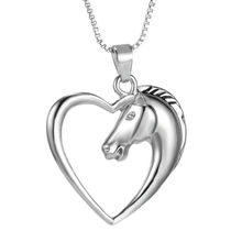 Summer 1 pc Women Men Swift Horse Heart Silver White Necklace Chain Pendant Hot charming fine jewelry