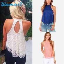 Hot Marketing Large Size  Sexy Women Summer Casual Sleeveless Shirt Lace Loose Vest Top Blouse WJul6 Drop Shipping