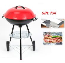 High quality Light Weight Portable charcoal grillstrolley Camping BBQ Grill Folding easily assembled BBQ Outdoor Cooking(China)
