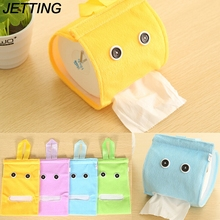 JETTING Plush Cloth Tissue Box Case Holder Toilet Paper Cover bathroom/office/car/restaurant Hanging paper towel tube 1PCS(China)