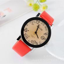 Cindiry Women Round Dial Faux Leather Band Quartz Hours Clock Wrist Watch Daily Schedule Student Watches P15(China)
