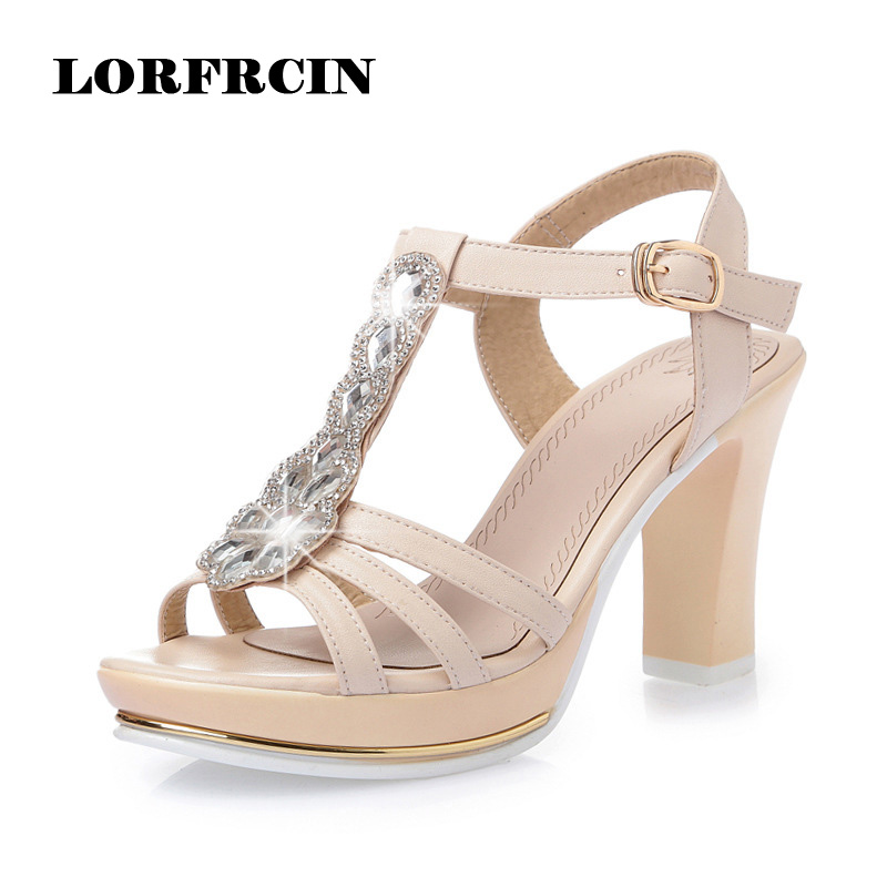 High Heels Fashion Womens Sandals 2017 Summer Women Shoes Sexy Cross-strap Women Pumps Crystal Genuine Leather Sandals Women <br>