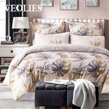 Polyester Leaves Printed Palace Royal Bedding Set 2/3/4Pcs King Queen Size Hotel Bed Set Duvet Cover Bed Sheet Pillow Case