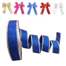 Newest !! Top Selling Princess Glitter Metallic Christmas Ribbon for Dance Cheerleader Hair Bows Gift Wrapping ribbon
