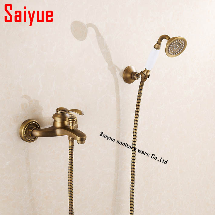 Special Design Retro Antique Brass Bath Shower Faucet Set Exposed Hand Shower Set Bathroom Wall Mounted Shower Valve Set<br><br>Aliexpress