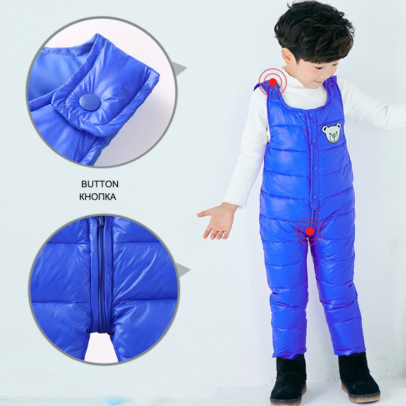 COOTELILI Cotton Winter Overalls Padded Outdoor Romper Pants High Quality Baby Girls Boys Jumpsuit Kids Clothes  90-110cm  (15)