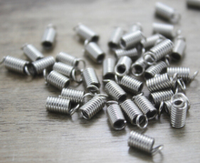 20g/ Spring Fastener, Antique silver Iron Ribbon Crimp End Caps Fastener Spring Clasp, spring buckle 4.5mm(China)