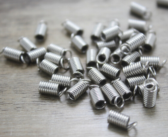 20g/ Spring Fastener, Antique silver Iron Ribbon Crimp End Caps Fastener Spring Clasp, spring buckle 4.5mm(China (Mainland))